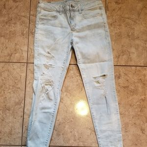 American Eagle Skinny High Waist Destroyed Denim 8